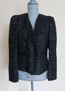 Basler Black Shiny Tweed Style Jacket Size M Petite