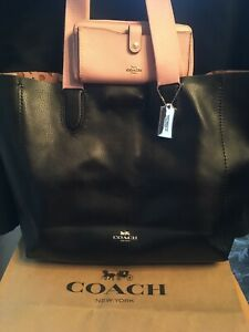 COACH DERBY TOTE Pink Black Leather Checkered Heart Lining+Wallet+ felt Insert