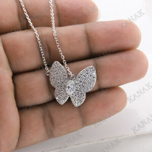 0.75 Ct Round Cut Diamond Butterfly Pendant Necklace 14k White Gold Finish