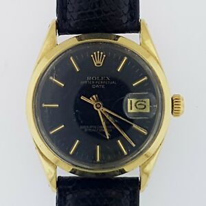 Rolex 1550 Swiss Made Vintage Men's 34mm 1978 Luxury Gold Cap Watch Black Dial~
