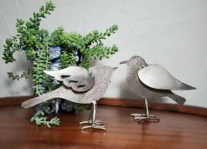 Embossed Sheet Metal Sculpture Bird Couple for the Home or Garden