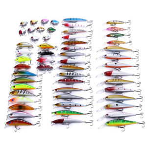 56PCS Fishing Lures Set Mixed Minnow Lures Bait Crankbait Tackle Kit Popper Bass