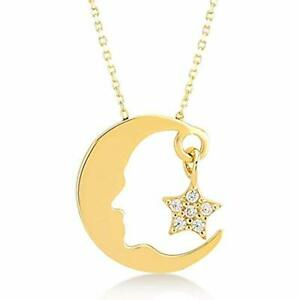 GELIN 14k Solid Gold Turkish Jewelry Ataturk Pendant Chain Necklace For Women