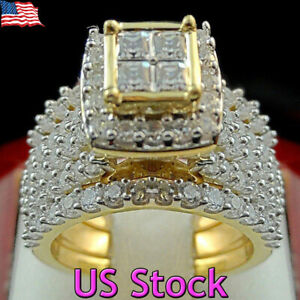 Men Women 18k Yellow Gold Plated Princess Cut White Topaz Rings Wedding Gifts