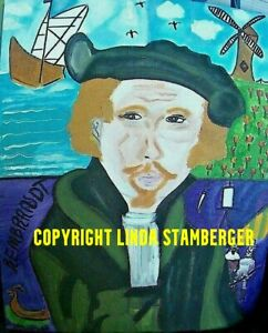 Rembrandt Original Expressionist Art Painting by Linda Stamberger $45.00