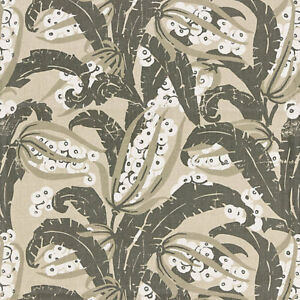 SCALAMANDRE EXOTIC TROPICAL CHIC LINEN PRINT HOME DECOR FABRIC 5 YARDS STONE