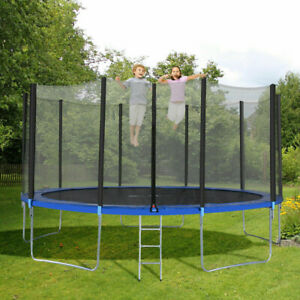 12 FT Round Trampoline for Kids with Enclosure Net W Spring Ladder Outdoor MA