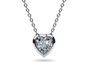 Real 14k Solid White Gold Heart Bezel Solitaire Pendant Necklace
