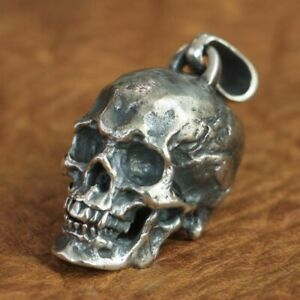 925 Sterling Silver Skull Mens Biker Gothic Charm Pendant Punk Jewelry TA86D 4PX