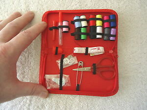 Vintage Travel Sewing Kit In Red Zip Up Pouch quot; BEAUTIFUL COLLECTIBLE USEABLE IT $16.99