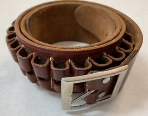 George Lawrence Leather Ammo Belt XL 30-06 Bullet Holder Holster Brown Red