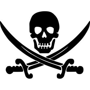 Jolly Roger Skull Vinyl Sticker Decal Pirate Boat Flag Choose Size
