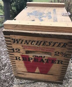 Vintage Winchester Small Arms Ammo Shot Gun Cartridges 12 500 2 5/8 Wood Box