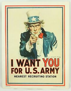 Uncle Sam I Want You US Army Vintage 14x11 Poster 1985 James Montgomery Flagg