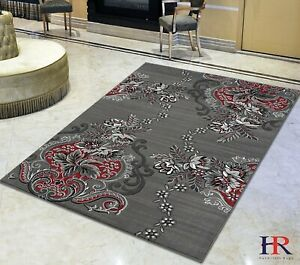 Lava/Grey/Silver/Black/Abstract Area Rug Modern Contemporary Floral and...