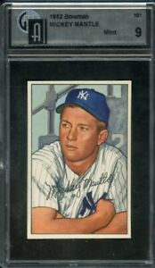 1952 BOWMAN 101 MICKEY MANTLE GAI MINT 9 PSA Crossover chance New York Yankees