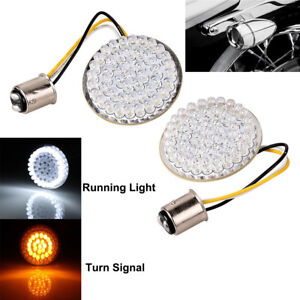Pairs Bullet-Style 1157 White/Amber LED Turn Signal Lights For Harley Davidson