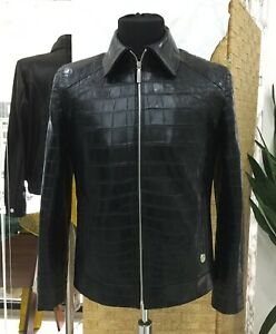 Men's Real Crocodile Leather Made To Measure Bespoke Handmade Black Jacket