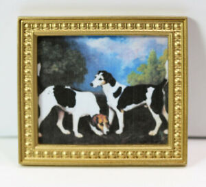 Dollhouse Miniature Famous Victorian Painting of Beagle Dogs in Gold Frame $9.99