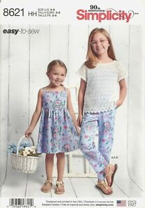 Simplicity 8621 Fabric Sewing Girls Dress Top Pants And Knit Camisole Sizes 3 6 $6.99