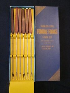 SET 6 FONDUE FORKS Vintage INLINE PRODUCTS: mid century modern ROSEWOOD: exc