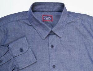UNTUCKit Blue Brushed Cotton Chambray Point Collar Slim Casual Button Up Shirt M