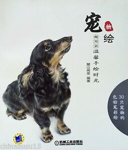 30 Dog Cat Animal Drawing Technique for Beginner Chinese Color Pencil Art Book