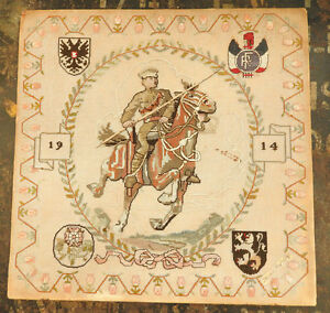 Military WW1 Embroidered Tapestry Depicting 1914 Lancer Crests Needle Work (4859