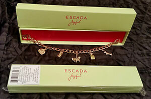 2 NEW ESCADA JOYFUL DESIGNER 6pc CHARM BRACELETS NY LIBERTY STATUEEMPIRE STATE