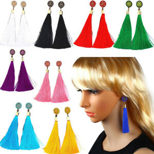 Fashion Vintage Women Boho Gift Long Tassel Dangle Earrings Fringe Drop Earrings