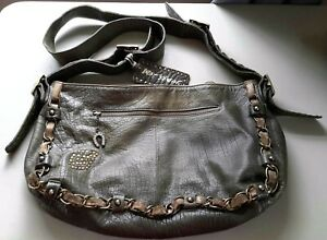 Authentic BETSEY JOHNSON Large Olive Green Leather Crossbody or Shoulder Bag