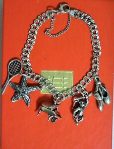 James Avery 925 Sterling Silver Double curb Charm Bracelet 5 Charms 3 Retired