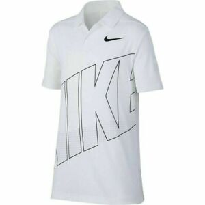 Nike Youth Boys Dri-FIT Essential Graphic White Golf Polo Shirt AA3336 NEW