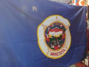 RARE ANTIQUE IN ORIGINAL BOX 1957 2ND OFFICIAL MINNESOTA STATE 4#x27;x6#x27; COTTON FLAG