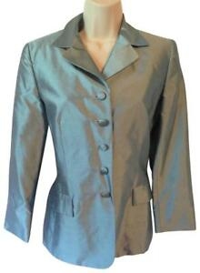 Escada 36 dress top jacket blazer blue silk pockets designer