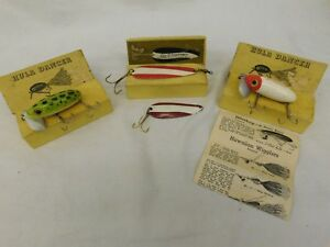FRED ARBORGAST JITTERBUG DARDEVLET FISHING LURES GREEN SPECKLE RED VINTAGE