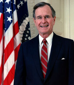 Oil painting PRESIDENT of America  - George H. W. Bush hand painted in oil on ca