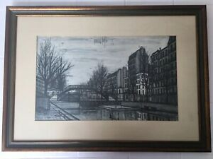 Vintage Bernard Buffet Paris Bridge Framed Lithograph $175.00