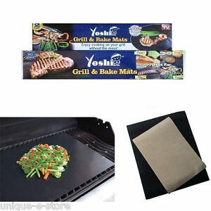 Yoshi Grill Bake Nonstick BBQ 2 Mats Pack Easy Baking Grilling  As Seen on Tv