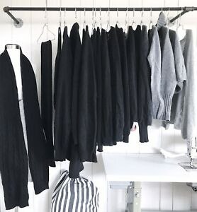 lot of 16 black to grey 100% cashmere cutter sweaters + 2 scarves upcycling