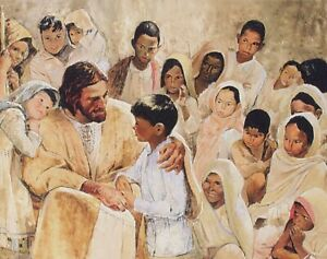 Richard Hook LET THE CHILDREN COME UNTO ME 14x18 Paper Art Print Jesus Artwork $34.50