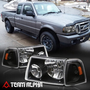 Fits 2001-2011 Ford Ranger[BlackClear]4PC Amber Corner Headlight Headlamp Lamp