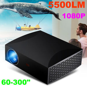 5500 Lumens Projector 3D HD 1080P Home Theater Cinema Multimedia LED LCD USB US