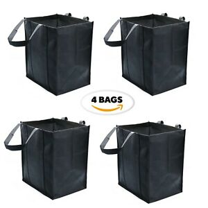 4 Pack Reusable Grocery BagsBlack Extra Large Shopping Tote Bag Heavy Non Woven