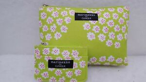 Marimekko Designer for CLINIQUE Lime Green Cosmetic Matching Coin Purse nwot