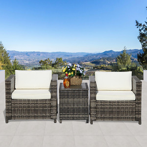 Super Patio 3 Piece Patio Furniture with Storage Table3 Piece All-Weather Grey