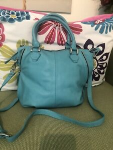 Barneys New York  Teal Leather Handbag With Cross Body Strap NWT