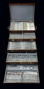 290pc. FRENCH STERLING SILVER FLATWARE SET +  CHEST, FILET MODEL, 1950-1999