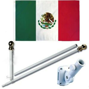Mexico Mexican 3 x 5 FT Flag w/ 6-Ft Spinning Flag Pole + Bracket (Tangle Free)
