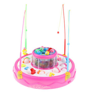 2-Tier Fishing Game Set Electric Magnetic Rod Water Fun Toy for Boys Girl